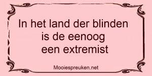 In het land der blinden is de eenoog een extremist