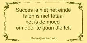 Succes is niet het einde falen is niet fataal het is de moed om door te gaan die telt