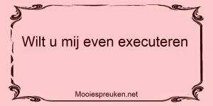 Wilt u mij even executeren